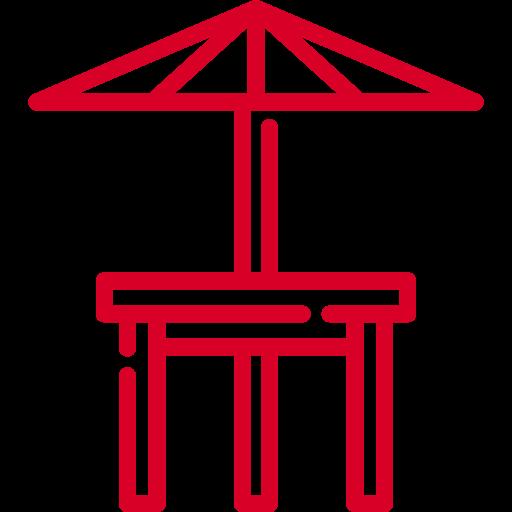 Salon de jardin et parasol